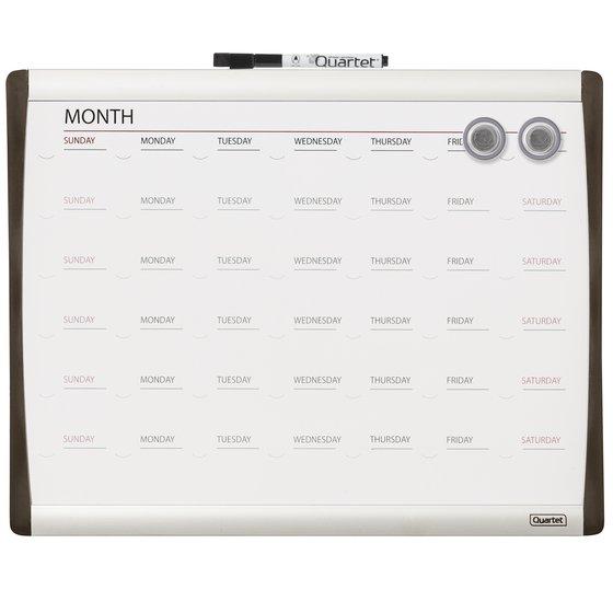 """Quartet®  Magnetic Dry-Erase Calendar Board, 11"""" x 14"""", 1-Month Design, Black/Silver Frame"""