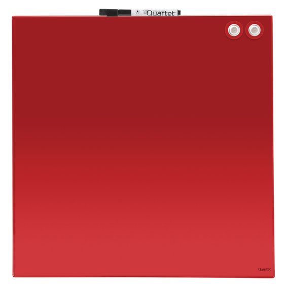 "Magnetic Glass Dry-Erase Board, Frameless, 17"" x 17"", Red"