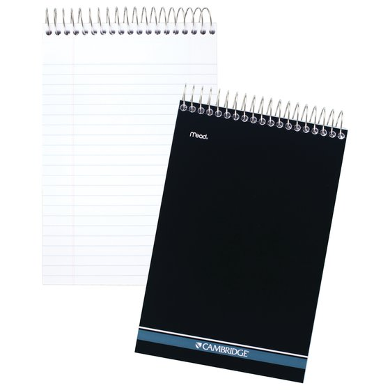 """Cambridge Topbound Stiff-Back Wide Ruled Steno Book, 140 Sheets, 6"""" x 9"""", Navy"""