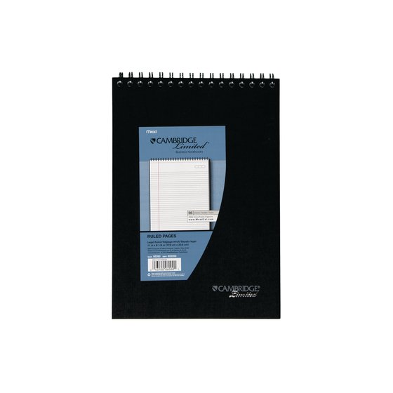 """Topbound Legal Ruled Notebook, 96 Sheets, 8 1/2"""" x 11"""", Black"""