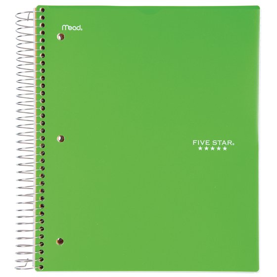 "Five Star Customizable Wirebound Notebook, 5 Subject, College Ruled, 11"" x 8 1/2"", Electric Green"