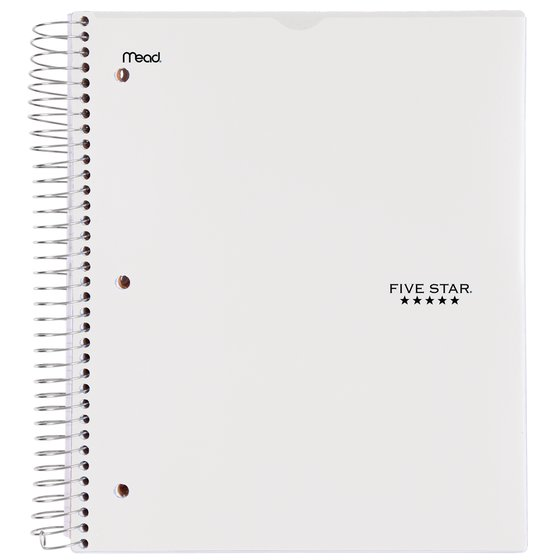 "Five Star Customizable Wirebound Notebook, 5 Subject, College Ruled, 11"" x 8 1/2"", White"