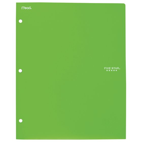 Five Star 2-Pocket Stay-Put Plastic Folder and File, Lime