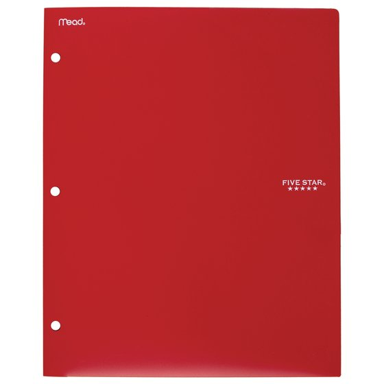 Five Star 2-Pocket Stay-Put Plastic Folder and File, Red