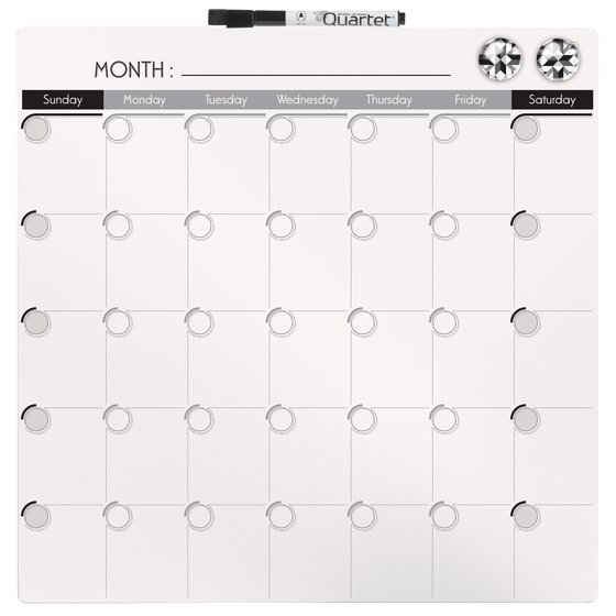 "Quartet Magnetic Dry-Erase Calendar Tile, 14"" x 14"", 1-Month Design, Frameless, White"