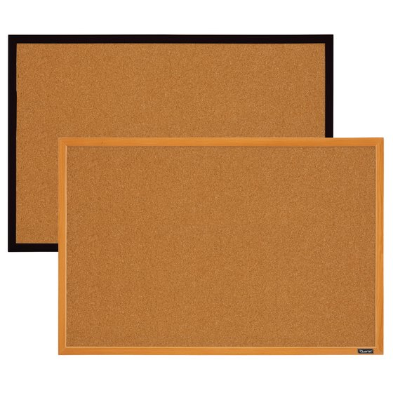 Quartet Cork Bulletin Board, 2' x 3', Assorted Wood Finish Frame