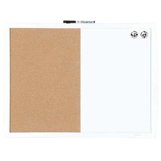 "Quartet Magnetic Combination Board, Cork/Dry-Erase, 17"" x 23"", White Frame"