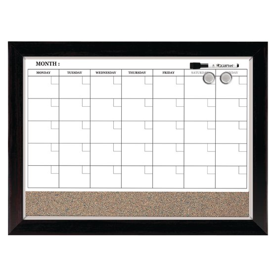 "Quartet Home Décor Magnetic Combination Calendar Board, Dry-Erase and Cork, 17"" x 23"", Two-Tone Frame"