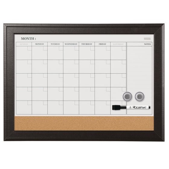"Quartet Magnetic Combination Calendar Board, 17"" x 23"", Dry-Erase & Cork, 1-Month Design, Espresso Frame"