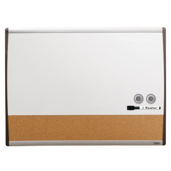 "Quartet Magnetic Combination Board, 17"" x 23"", Dry-Erase & Cork, Black/Silver Frame"