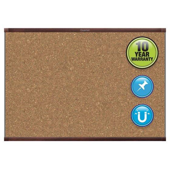 Quartet® Prestige® 2 Magnetic Cork Bulletin Boards, Mahogany Finish Frame