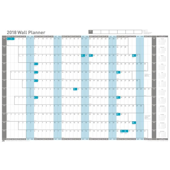 Sasco Unmounted Wall Planner 2018