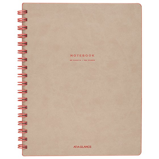 """AT-A-GLANCE Signature Collection Twinwire Notebook, Ruled, 80 Sheets, 11"""" x 8 3/4"""", Tan/Red"""