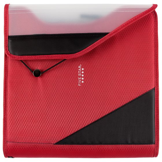 "Five Star 1 1/2"" Zipper Binder + Easy Access, 480 Sheet Capacity, Red/Gray, 13 1/4"" x 12 3/4"""