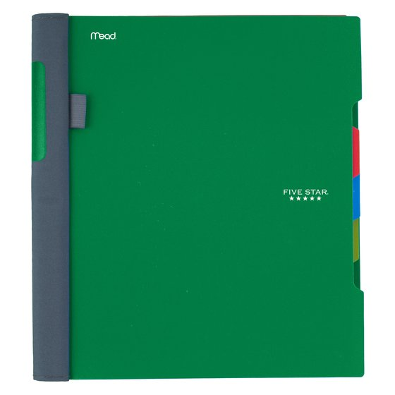 "Five Star Advance Wirebound Notebook, 3 Subject, College Ruled, 11"" x 8 1/2"", Electric Green"