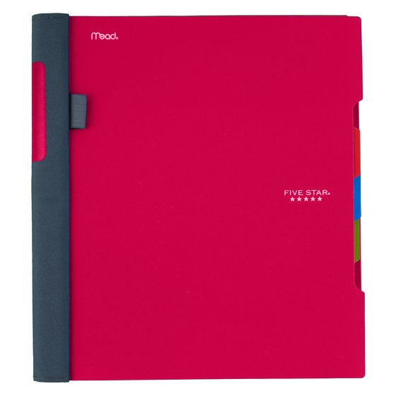 "Five Star Advance Wirebound Notebook, 3 Subject, College Ruled, 11"" x 8 1/2"", Red"