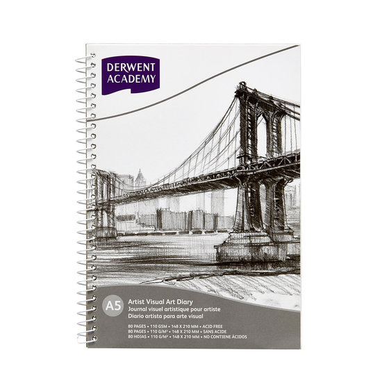 Board Single Wire Visual Art Diary A5 Portrait (80 pages)