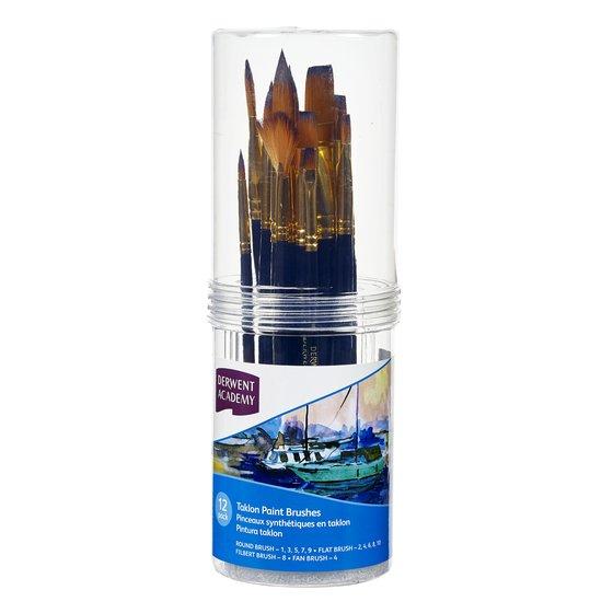 Taklon Small Brush Set Cylinder 12 Pack