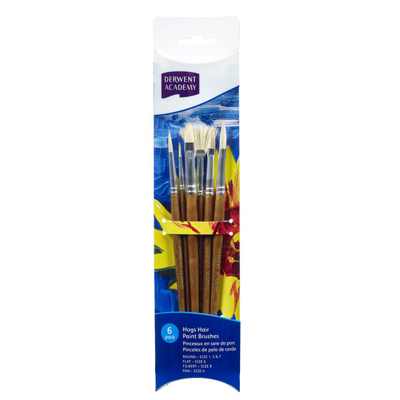 Hogs Hair Small Brush Set Acetate 6 Pack