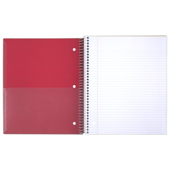 "Five Star Customizable Wirebound Notebook, 5 Subject, College Ruled, 11"" x 8 1/2"", Red"