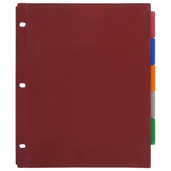 "Five Star Flex NoteProtector Tabbed Divider, 9 3/4"" x 11 1/2"", Assorted Colors, 5 Pack"