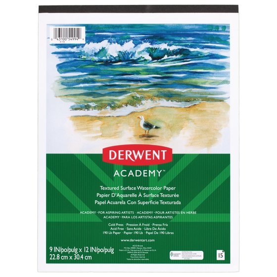 "Derwent Academy Textured Surface Watercolour Paper Pad, 15 Sheets, 9"" x 12"""