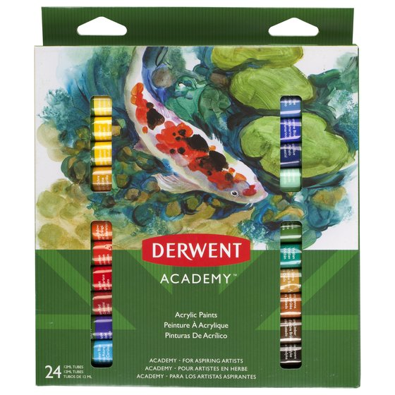 Derwent Academy Acrylic Paints, 24 Pack