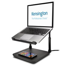 smartfit laptop riser with wireless phone charging pad