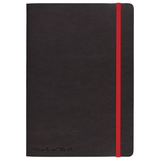 """Black n' Red Stitched Business Journal, Soft Cover, Ruled, 71 Sheets, A5, 8 1/4"""" x 5 3/4"""", Black"""