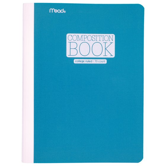 "Mead Plastic Composition Book, College Ruled, 70 Sheets, 9 3/4"" x 7 1/2"", Blue"
