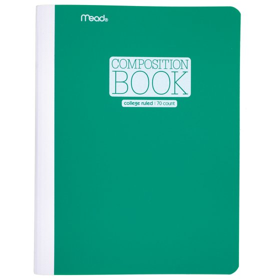 "Mead Plastic Composition Book, College Ruled, 70 Sheets, 9 3/4"" x 7 1/2"", Green"