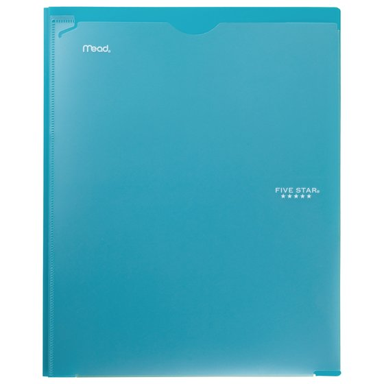Five Star Customizable Pocket and Prong Plastic Folder, Teal