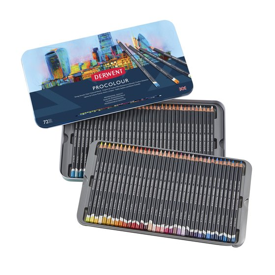 Derwent Procolour Pencils, Metal Tin, 72 Count