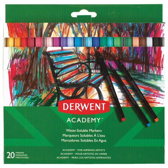 Derwent Academy Water-Soluble Markers, Fine Tip, 20 Pack