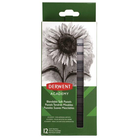 Derwent Academy Soft Pastels, Grays, 12 Pack
