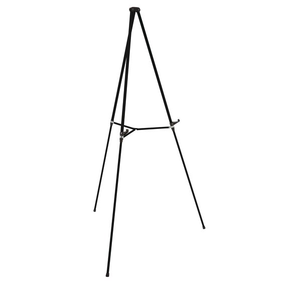 "Aluminum Lightweight Telescoping Display Easel, 66"", Supports 25 lbs., Black"