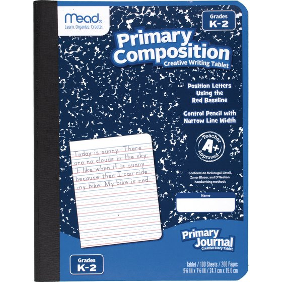 "Mead Primary Composition Book, Ruled, Grades K-2, 100 Sheets, 7 1/2"" x 9 1/2"""