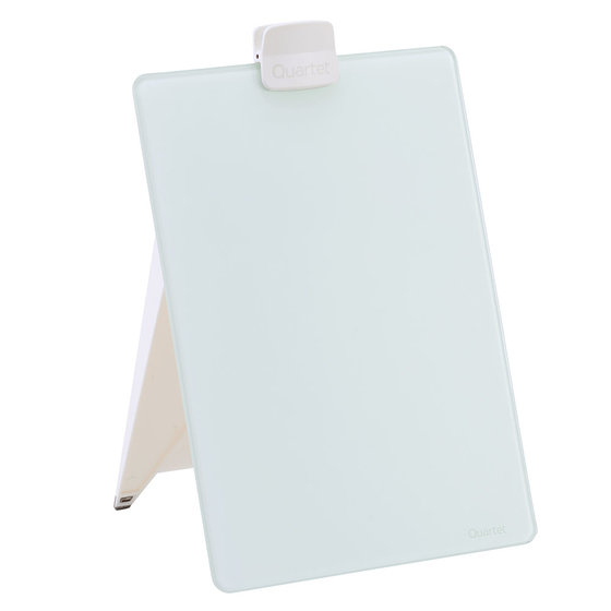 "Glass Dry-Erase Desktop Easel, 9"" x 11"", White Surface, Frameless"