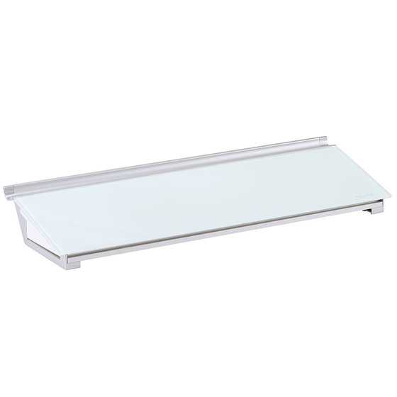 "Glass Dry-Erase Desktop Computer Pad, 18"" x 6"", White Surface, Frameless"