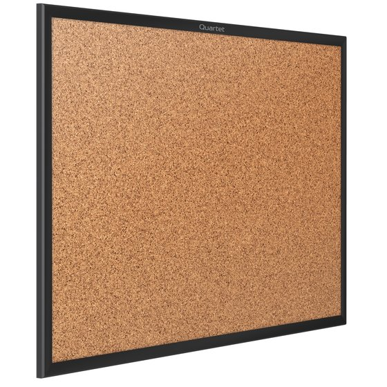 Classic Cork Bulletin Board, 4' x 3', Black Aluminum Frame