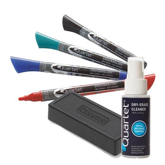 EnduraGlide Dry-Erase Kit, Fine Tip Dry-Erase Markers, Eraser, Spray Cleaner