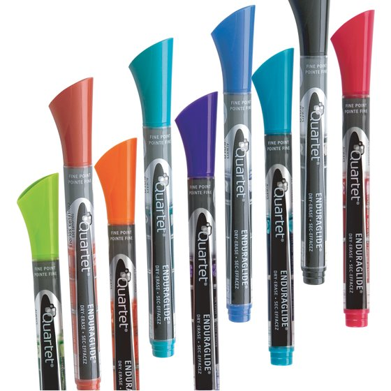 EnduraGlide Dry-Erase Markers, Fine Tip, Assorted Classic & Neon Colors, 12 Pack