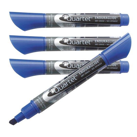 EnduraGlide Dry-Erase Markers, Chisel Tip, Blue, 12 Pack