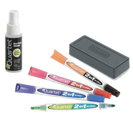2-in-1 Dry-Erase Kit, Chisel/Fine Tip Dry-Erase Markers, Eraser, Spray Cleaner