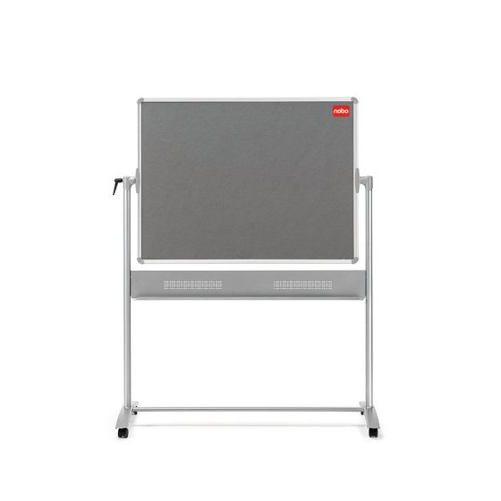Mobile Combination Board Magnetic Steel Whiteboard/Grey Felt Noticeboard Horizontal Pivot 1200x900mm