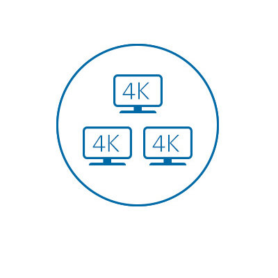 Drievoudige 4K-video-output (HDMI of DP++)