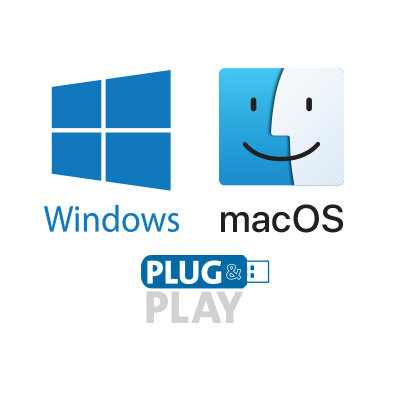 Plug-and-Play Installation on Mac or PC