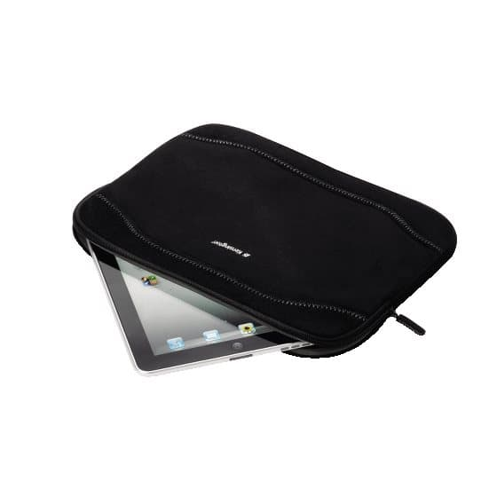 Neoprene Sleeve for iPad and Tablet PC - Faux Suede Black 11.6""