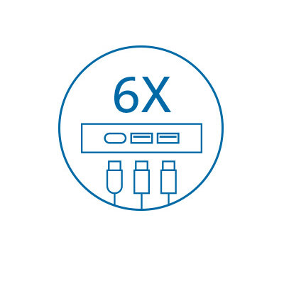 Six USB Ports (USB-A and USB-C)