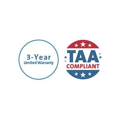 TAA-Compliant and Three-Year Warranty